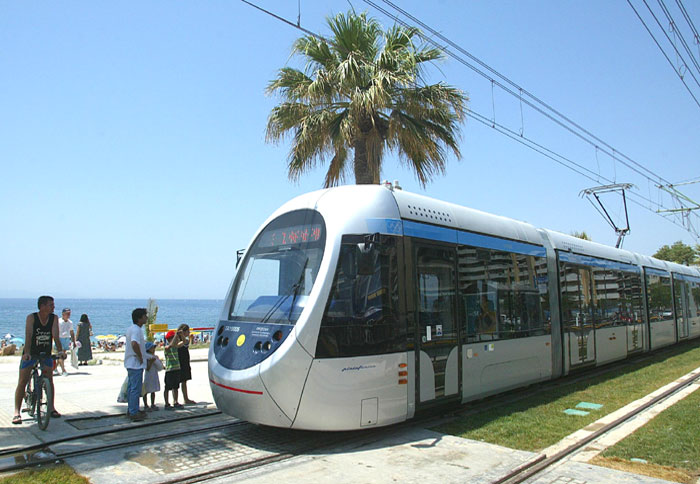 Tram ride along the coastal road of Athens