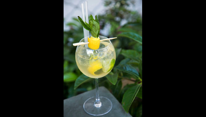 Zaf cafe  - Summer breeze:  Martini Bianco, Bombay Sapphire Gin, χυμός εσπεριδοειδών,ginger ale και δυόσμος